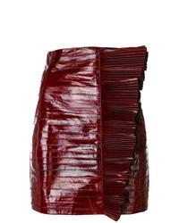 dunkelroter Leder Minirock von Saint Laurent
