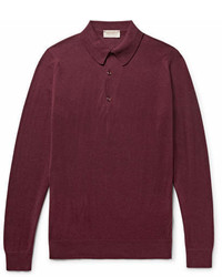 dunkelroter Polo Pullover