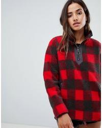 dunkelroter Pullover mit einem Reißverschluss am Kragen von Abercrombie & Fitch