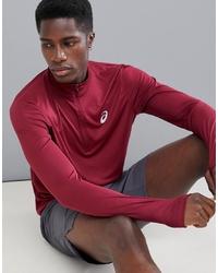 dunkelroter Pullover mit einem Reißverschluss am Kragen von Asics