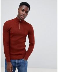 dunkelroter Pullover mit einem Reißverschluss am Kragen von ASOS DESIGN