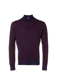 dunkelroter Pullover mit einem Reißverschluss am Kragen von Canali