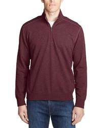 dunkelroter Pullover mit einem Reißverschluss am Kragen von Eddie Bauer
