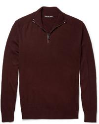 dunkelroter Pullover mit einem Reißverschluss am Kragen von Michael Kors