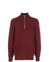 dunkelroter Pullover mit einem Reißverschluss am Kragen von N.Peal