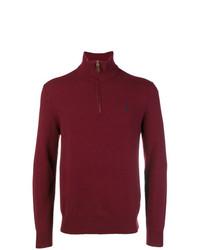 dunkelroter Pullover mit einem Reißverschluss am Kragen von Polo Ralph Lauren
