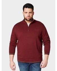 dunkelroter Pullover mit einem Reißverschluss am Kragen von Tom Tailor