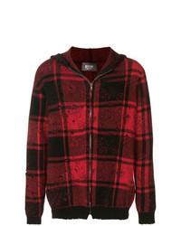 dunkelroter Pullover mit einem Reißverschluß mit Karomuster