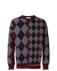 dunkelroter Pullover mit einem Rundhalsausschnitt mit Argyle-Muster