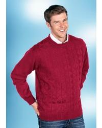 dunkelroter Pullover mit einem Rundhalsausschnitt mit Argyle-Muster von Classic