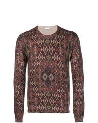 dunkelroter Pullover mit einem Rundhalsausschnitt mit Fair Isle-Muster