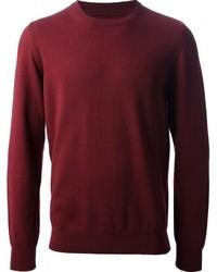 dunkelroter Pullover mit einem Rundhalsausschnitt