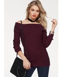 dunkelroter Pullover mit einem Rundhalsausschnitt von Vero Moda