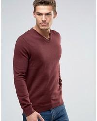 dunkelroter Pullover mit einem V-Ausschnitt von Esprit