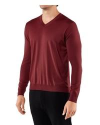 dunkelroter Pullover mit einem V-Ausschnitt von Falke