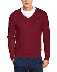 dunkelroter Pullover mit einem V-Ausschnitt von Gant