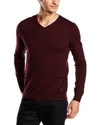 dunkelroter Pullover mit einem V-Ausschnitt von JACK & JONES PREMIUM