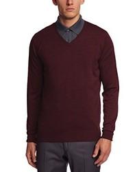 dunkelroter Pullover mit einem V-Ausschnitt von John Smedley