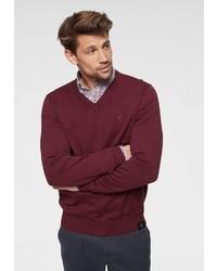 dunkelroter Pullover mit einem V-Ausschnitt von LERROS