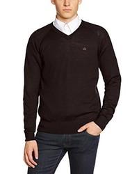 dunkelroter Pullover mit einem V-Ausschnitt von Merc of London