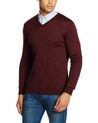 dunkelroter Pullover mit einem V-Ausschnitt von Paul James Knitwear