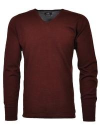 dunkelroter Pullover mit einem V-Ausschnitt von RAGMAN