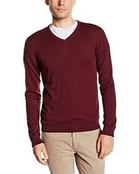 dunkelroter Pullover mit einem V-Ausschnitt von Selected Homme