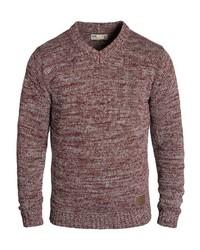 dunkelroter Pullover mit einem V-Ausschnitt von Solid