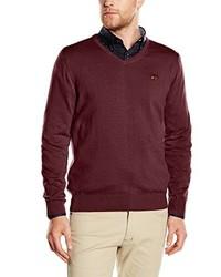 dunkelroter Pullover mit einem V-Ausschnitt von Spagnolo