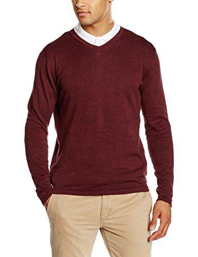 dunkelroter Pullover mit einem V-Ausschnitt von SPRINGFIELD