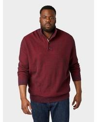 dunkelroter Pullover mit einem zugeknöpften Kragen von Tom Tailor