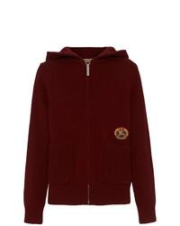 dunkelroter Pullover mit einer Kapuze von Burberry