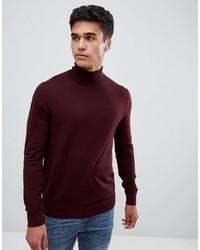 dunkelroter Rollkragenpullover von Burton Menswear