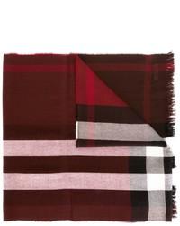 dunkelroter Schal mit Karomuster von Burberry