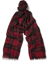 dunkelroter Schal mit Schottenmuster von McQ