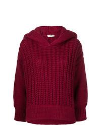 dunkelroter Strick Oversize Pullover von Fendi