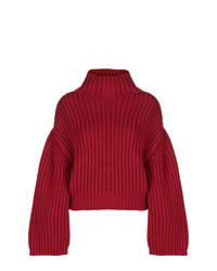 dunkelroter Strick Oversize Pullover von Lanvin