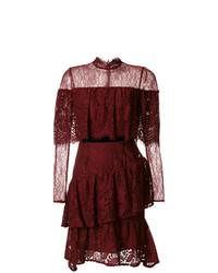 dunkelrotes ausgestelltes Kleid aus Spitze von Perseverance London