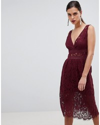 dunkelrotes ausgestelltes Kleid aus Spitze von Y.a.s