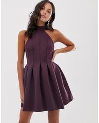 dunkelrotes ausgestelltes Kleid von ASOS DESIGN