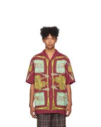 dunkelrotes bedrucktes Kurzarmhemd von Gucci