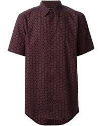dunkelrotes bedrucktes Kurzarmhemd von Marc Jacobs