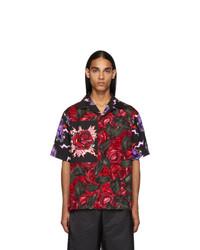 dunkelrotes bedrucktes Kurzarmhemd von Prada
