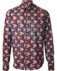dunkelrotes bedrucktes Langarmhemd