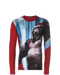 dunkelrotes bedrucktes Langarmshirt von Dolce & Gabbana