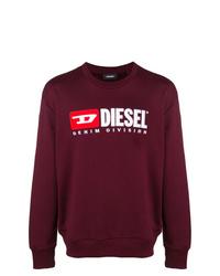 dunkelrotes bedrucktes Sweatshirt von Diesel