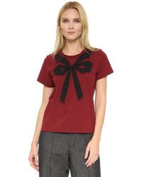 dunkelrotes bedrucktes T-Shirt mit einem Rundhalsausschnitt von Marc Jacobs
