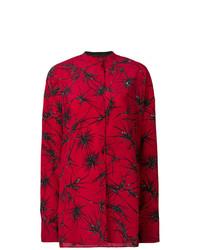 dunkelrotes Businesshemd mit Blumenmuster von Haider Ackermann