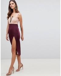 dunkelrotes figurbetontes Kleid von ASOS DESIGN