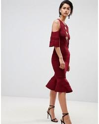 dunkelrotes figurbetontes Kleid von Forever Unique